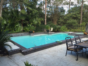 Showcase pool with brick coping and stone decking.
