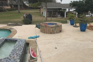 fire pit on completed pool in Montgomery Texas