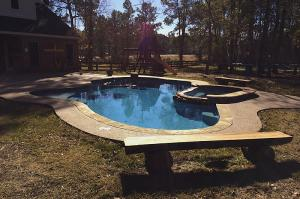 pool with playset