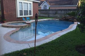 pool with tiki torches